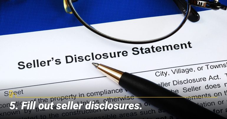 Fill out seller disclosures