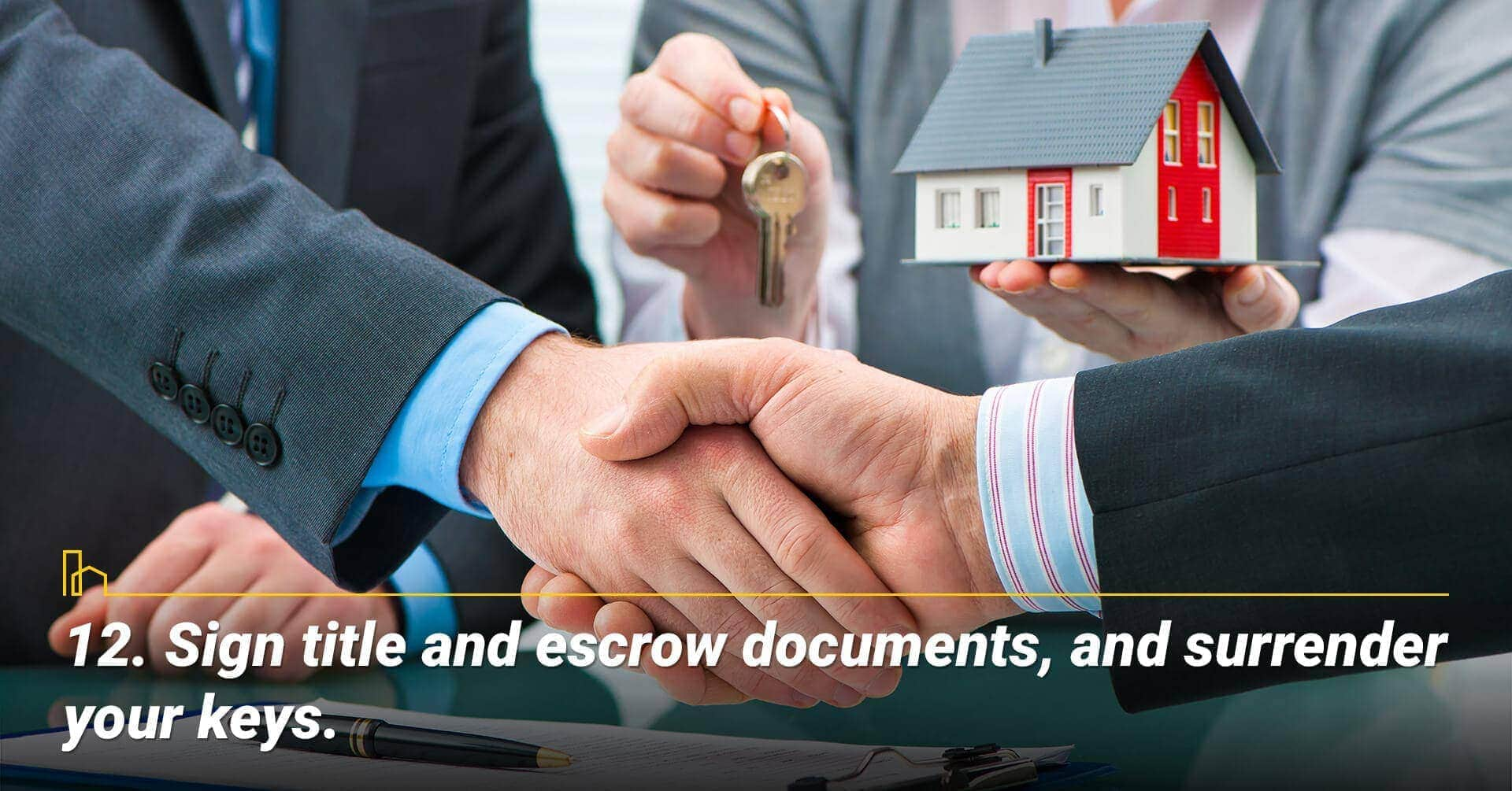 Sign title and escrow documents, and surrender your keys