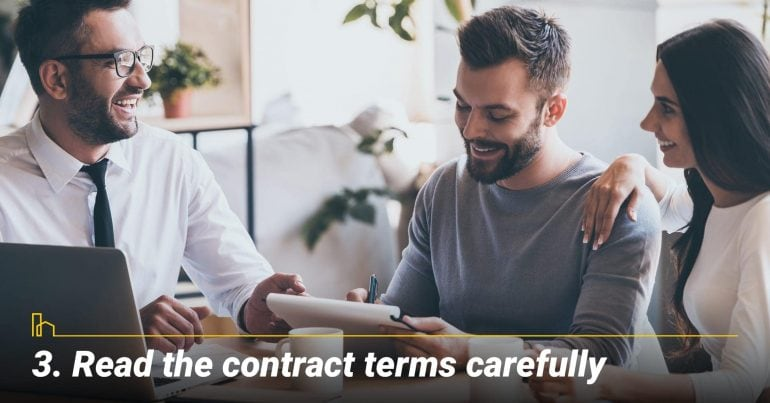 Read the contract terms carefully