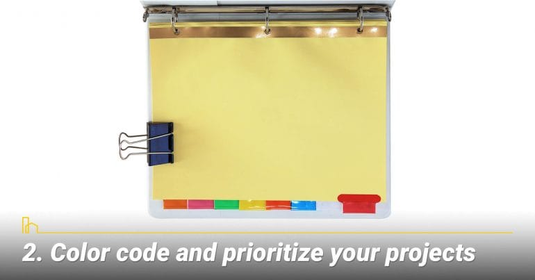 Color code and prioritize your projects