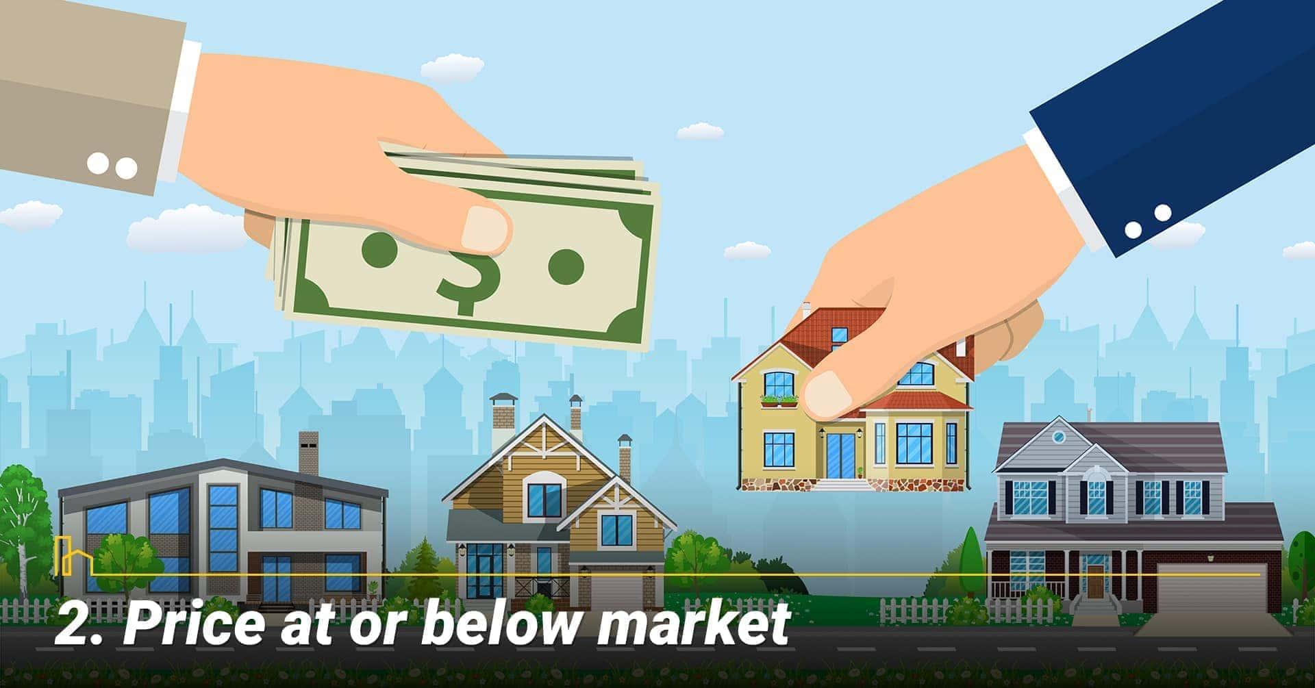 Price at or below market