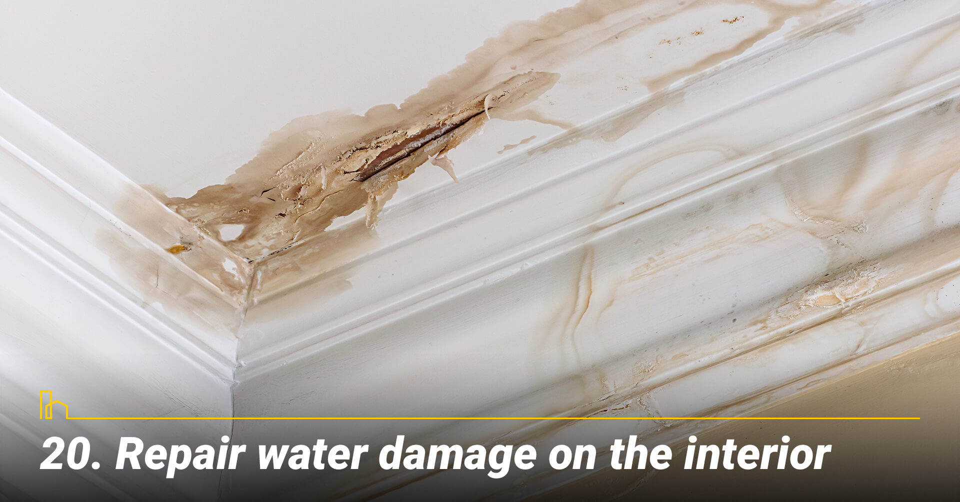 Repair water damage on the interior, fix the interior of the house