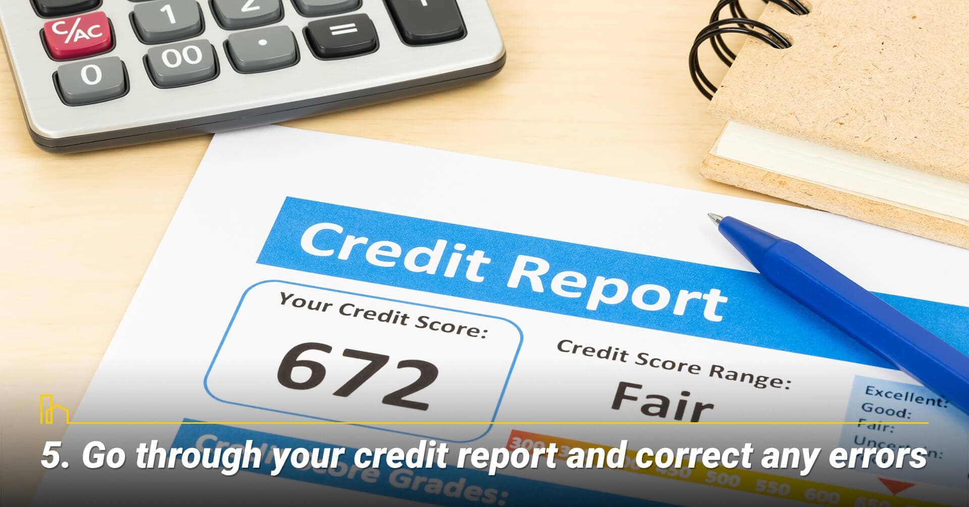 Go through your credit report and correct any errors, clean up errors in your credit report