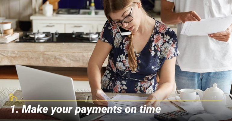 The single most important thing that you can do to have good credit is to continually make your payments on time.