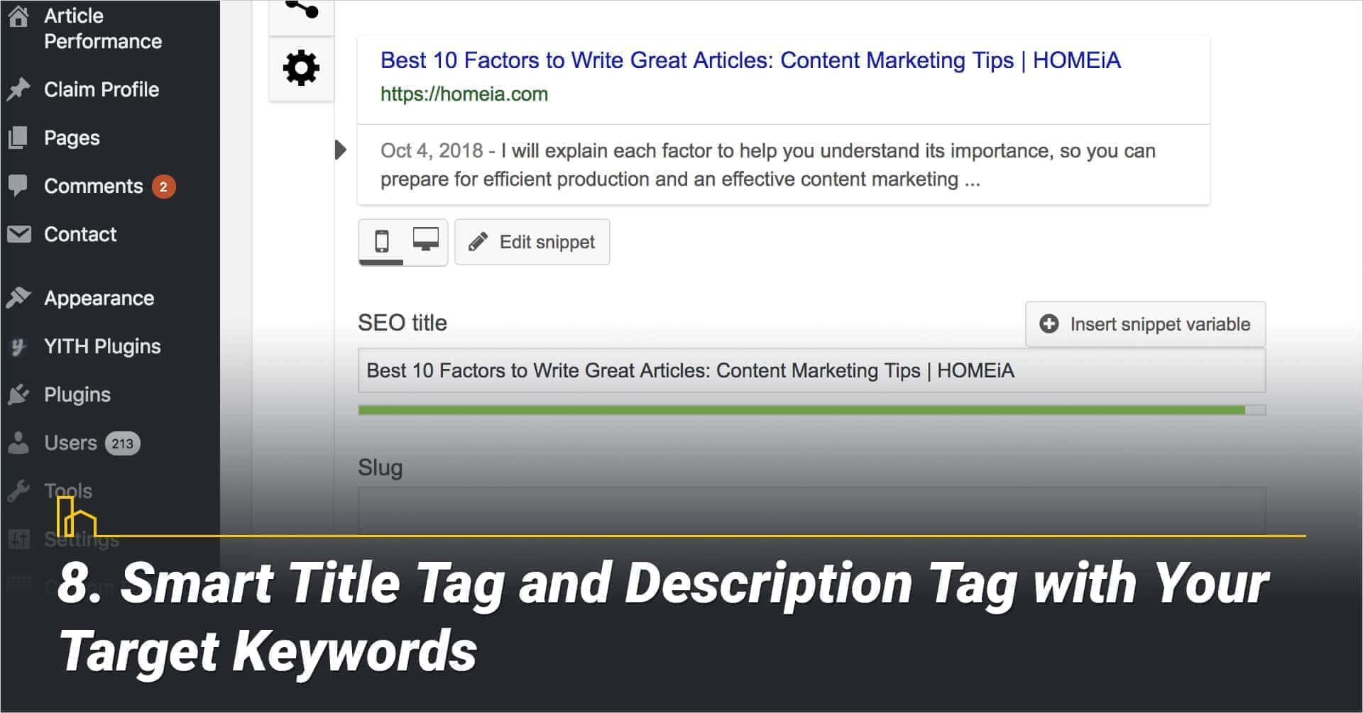 Smart Title Tag and Description Tag with Your Target Keywords