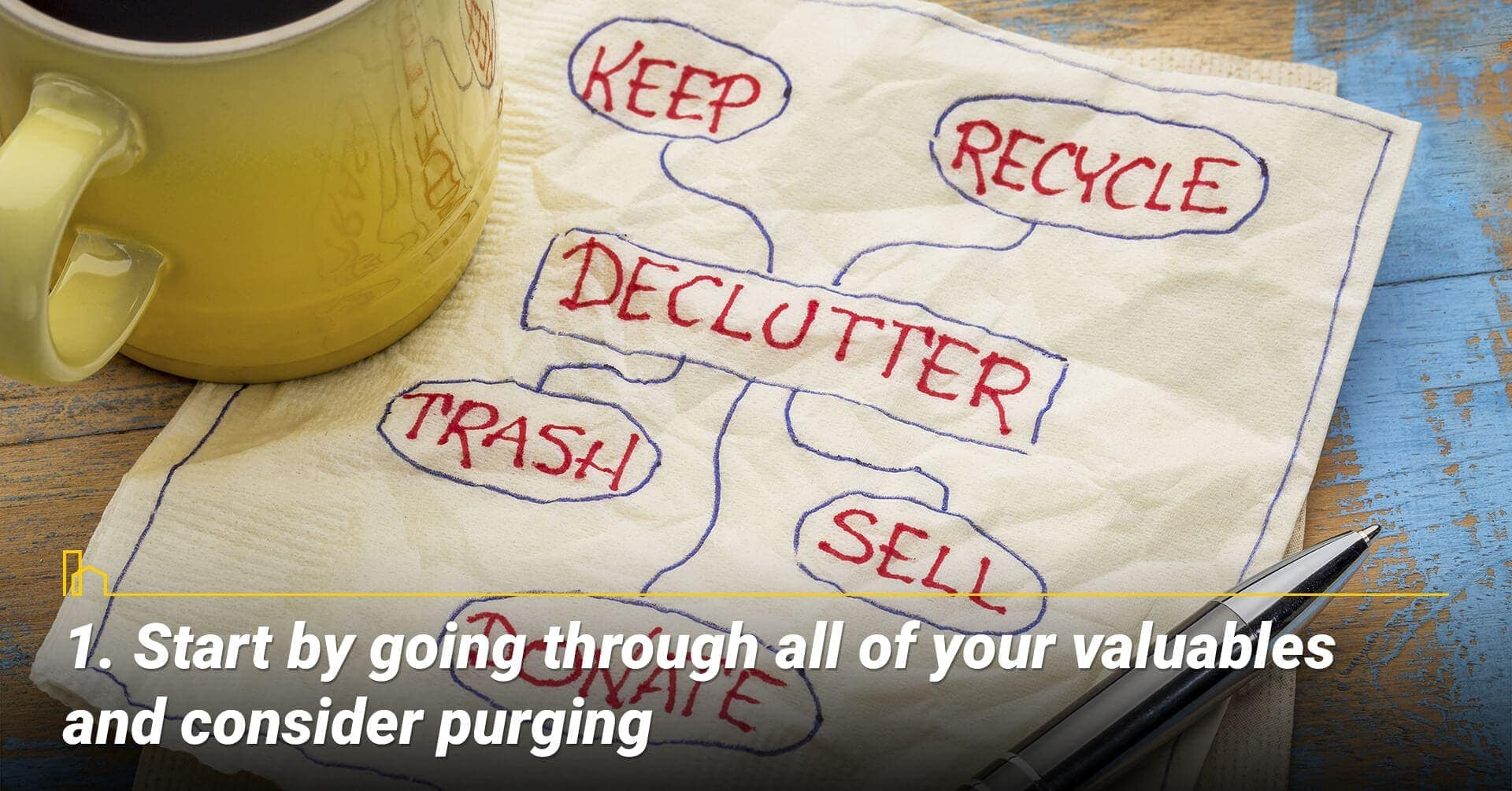 Start by going through all of your valuables and consider purging