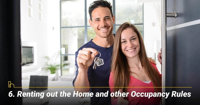 Renting out the Home and other Occupancy Rules