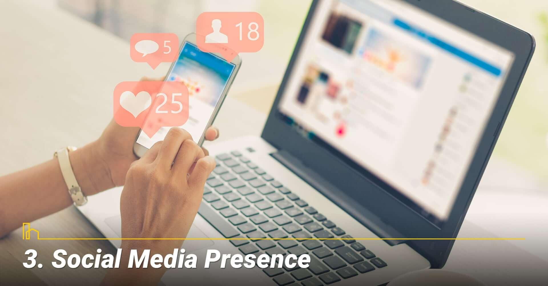 Social Media Presence, activities on Social Media