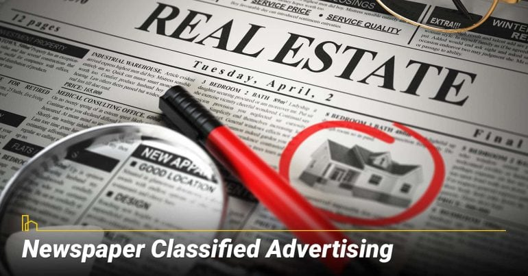 Newspaper Classified Advertising, listing your property on newspaper