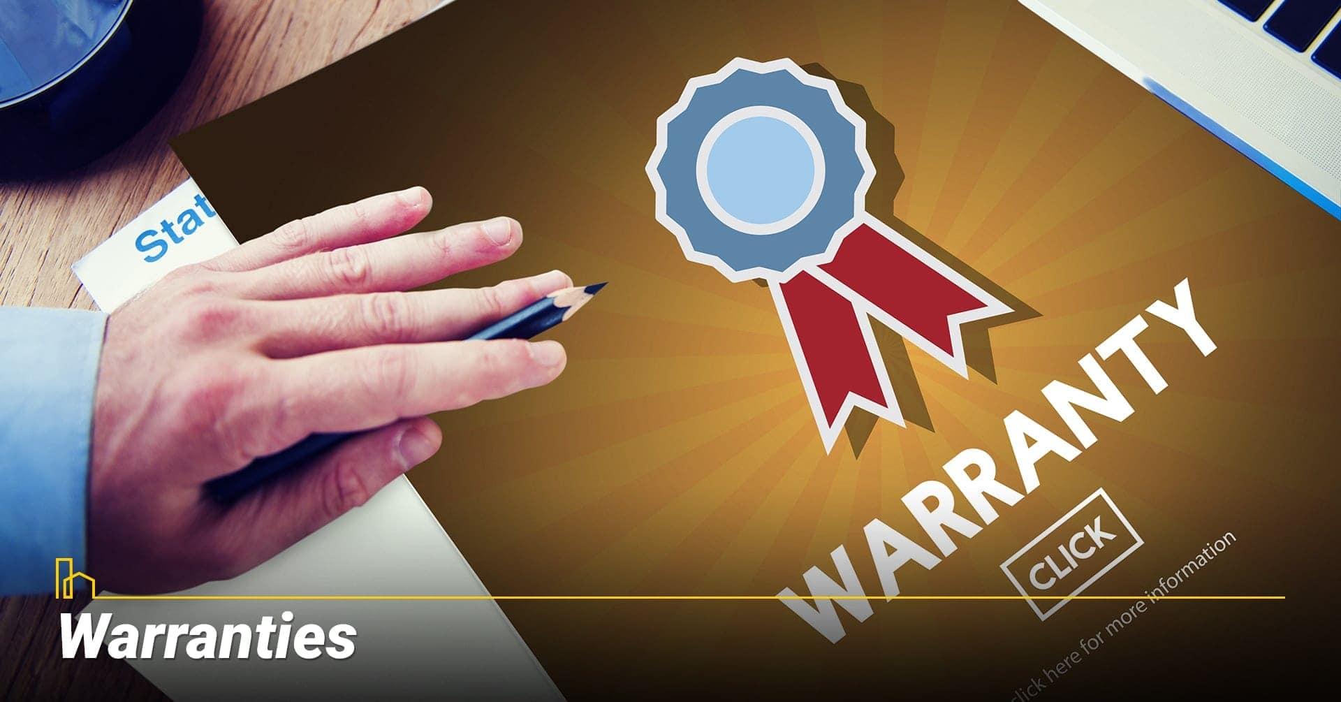 Warranties, check for warranties