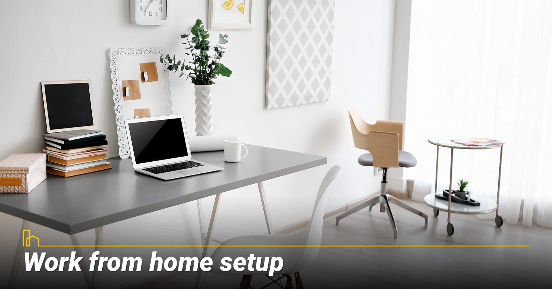 Work from home setup, set up a place to work