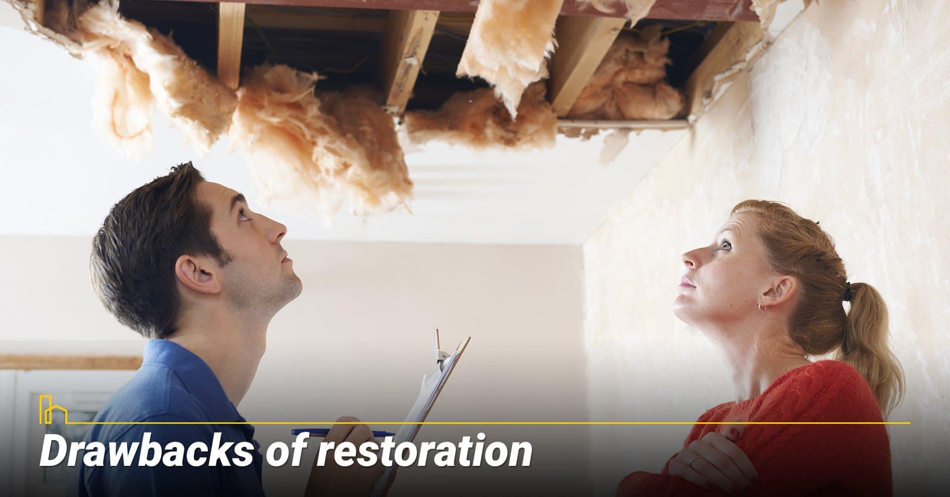 Drawbacks of restoration, the disadvantages of roof restoration