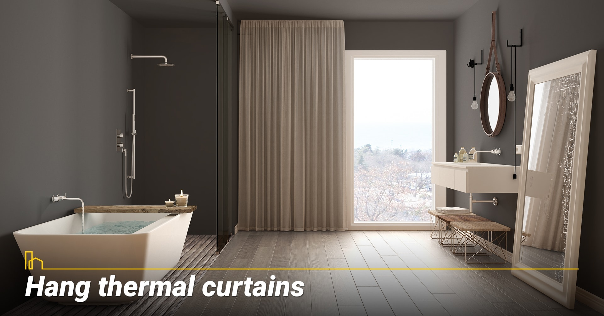 Hang thermal curtains, use thermal curtains to block cold weather
