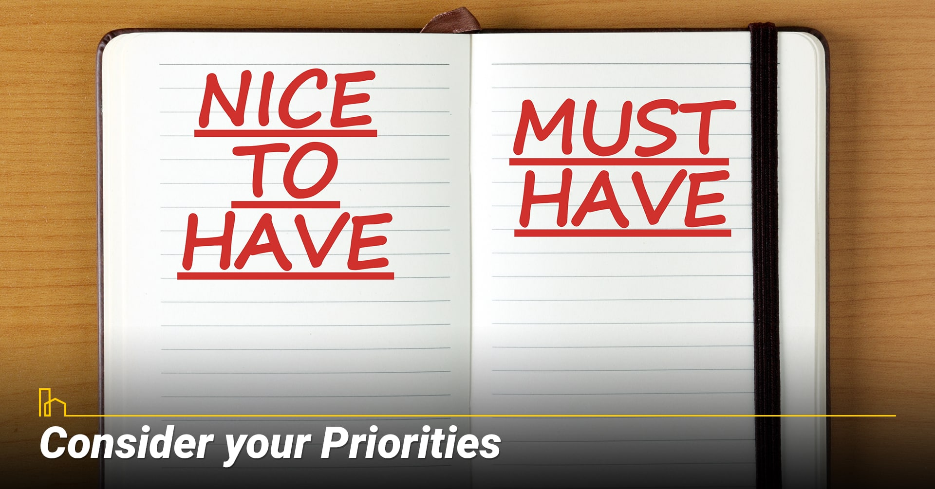 Consider your Priorities, Nice to have and must have