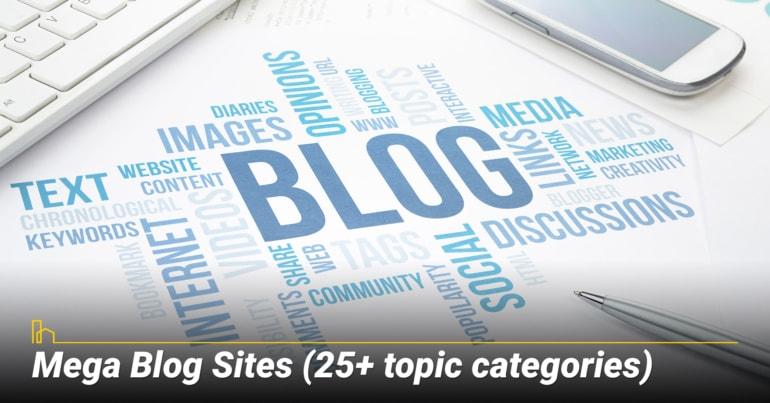 Mega Blog Sites (25+ topic categories)