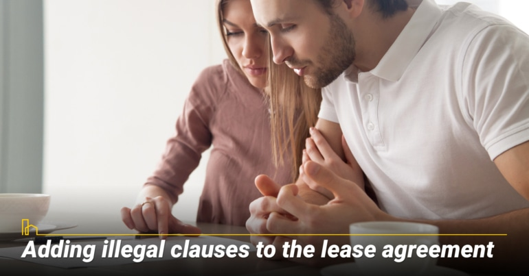 Adding illegal clauses to the lease agreement