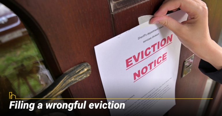Filing a wrongful eviction