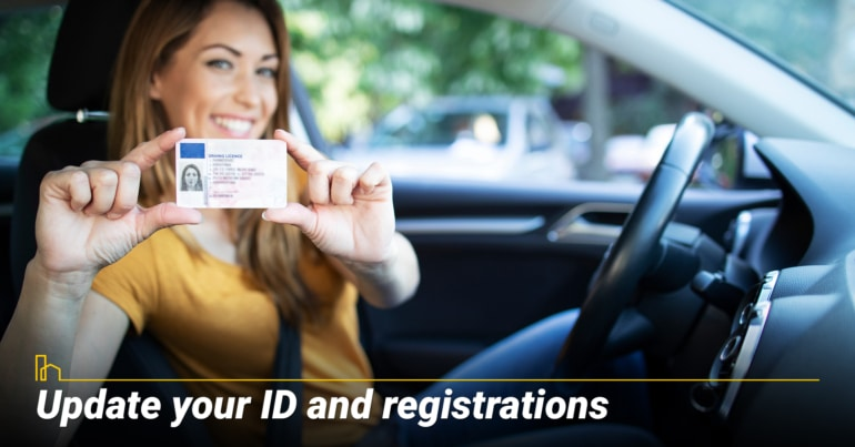 Update your ID and registrations